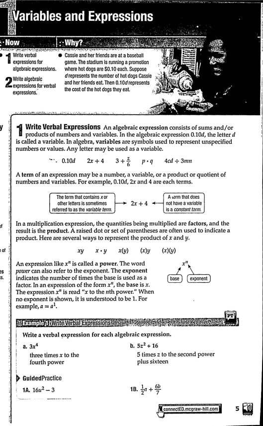 algebra 1 start